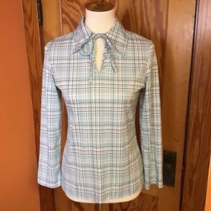 Vintage 70s turquoise n brown plaid polyester top